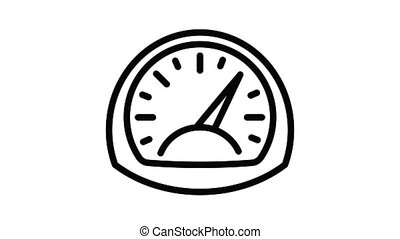 Turbo power gauge icon animation outline best object on white background