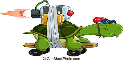 Turbo turtle - Turtle with a jet engine, vector illustration