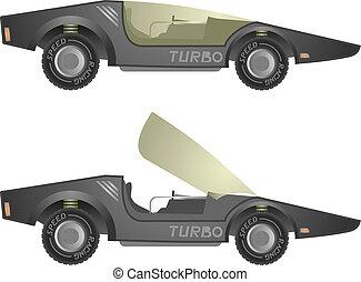 turbo, vecteur, voiture