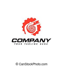 turbocharger and gear logo. Automotive performance logo