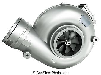 Turbocharger - Automotive turbocharger, isolated on a white...