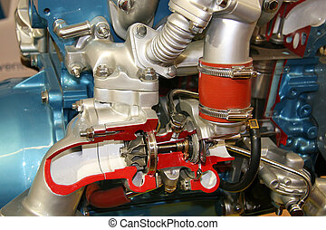 Turbocharger cross section - Educational concept