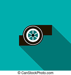 Turbocharger icon in flat style