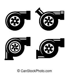 turbocharger, iconos, conjunto, aislado, en, un, blanco, fondo., vector