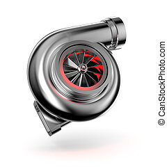 Turbocharger. Turbine for auto - Conceptual image. Isolated...