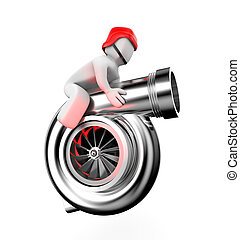 Turbocharger with driver - New technologies metaphor. ...