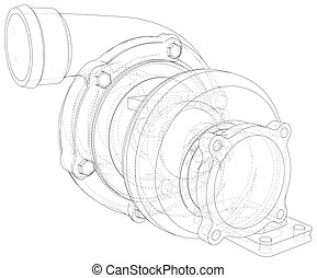Turbocharger with wire-frame isolated on white background. Illustration created of 3d