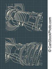 turbofan moteur, jet