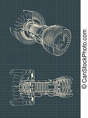 turbofan, plan, moteur, jet