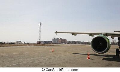 Turbojet 4-bladed engine of Russian passenger aircraft.