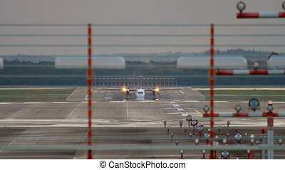 Turboprop aircraft accelerate before departure - Turboprop...