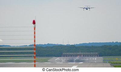 Turboprop aircraft approaching before landing