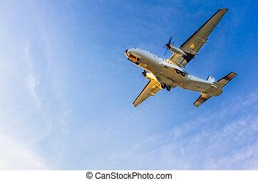 Turboprop airplane landing at Larnaca International Airport...