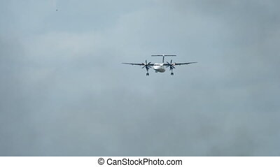 Turboprop airplane landing