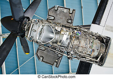 Turboprop engine of the aircraft for repair, maintenance.
