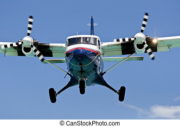 Turboprop passenger airplane. - Turboprop airplane close up.