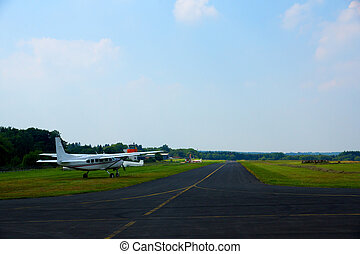 Turboprop plane on small airfield in germany