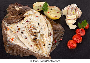 Turbot Fish With Potatoes - Above view of baked turbot fish ...