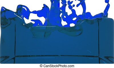 turbulent blue liquid filling the frame. clear liquid -...