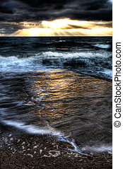 Turbulent Sea - A turbulent seascape taken at sunset with a...