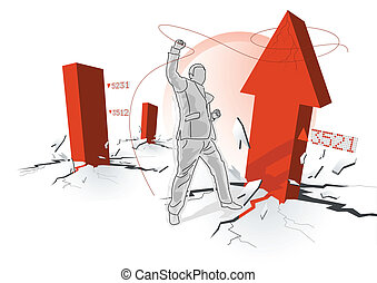 Turbulent Times - Business concept with a business trader...