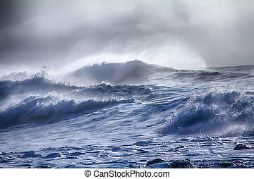 turbulent waves of Pacific ocean