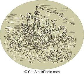 turbulento, serpientes, mar, oval, barco alto, dibujo