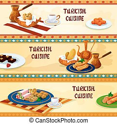 turc, cuisine, dessert, menu, bannières