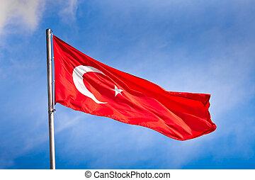 turc, drapeau ondulant