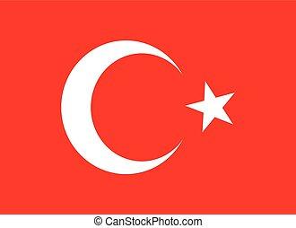 turc, drapeau rouge, vecteur, art