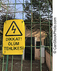 turc, mort, signe, barrière, danger