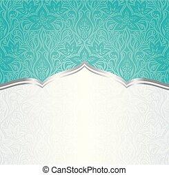 Blu Turchese Vendemmia Sfondo Verde Invito Disegno Floreale