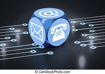 turchese, cubo, con, segni, per, email, telefono, e, lettera