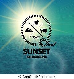 turchese, superficie, acqua, verde, mare, tramonto