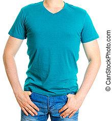 turchese, t-shirt., isolato, fondo., bianco, uomo