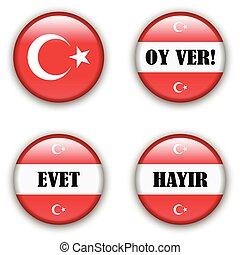 turco, botão, não, referendum, eleição, voto, sim, emblema, ou