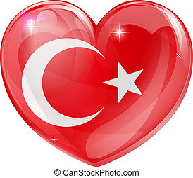 turco, corazón, amor, bandera