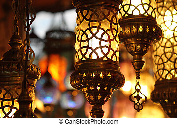 turco, encima, tradicional, plano de fondo, lámparas, luz, ...