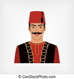 turco, hombre, en, nacional, traje