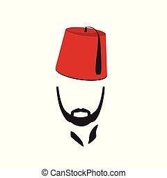 turco, hombre, llevando, fez, logotipo, en, aislado, blanco,...