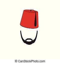 turco, hombre, llevando, fez, logotipo, en, aislado, fondo...
