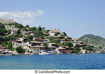 turco, isola, simena, villaggio, nea, kekova