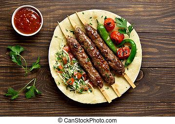 turco, kebab, vegetales, fresco, adana, flatbread
