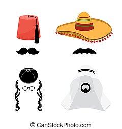 turco, mexicano, árabe, y, judío, sombreros