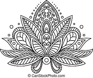 turco, o, persa, cachemira, flor