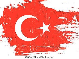 turco, rasguñado, bandera