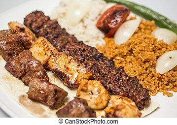turco, selezioni, -, tradizionale, kebabs, pasto