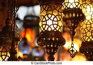 turco, sopra, tradizionale, fondo, lampade, luce, vendemmia