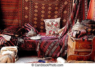 turco, tienda, bazar, alfombra
