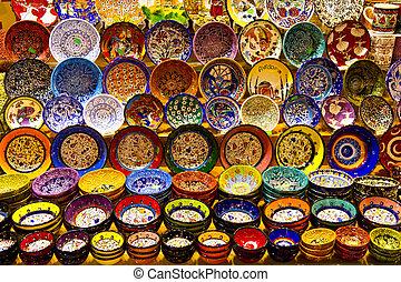 turecki, ceramika, z, przyprawa, bazar, istambuł